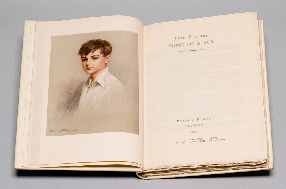 HOLLAND, JOHN; [PRIVATELY PRINTED] - Song of a Boy