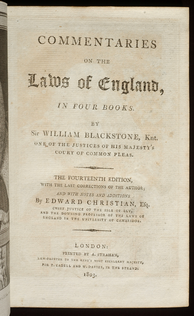 Commentaries on the Laws of England by Sir William BLACKSTONE on David  Brass Rare Books