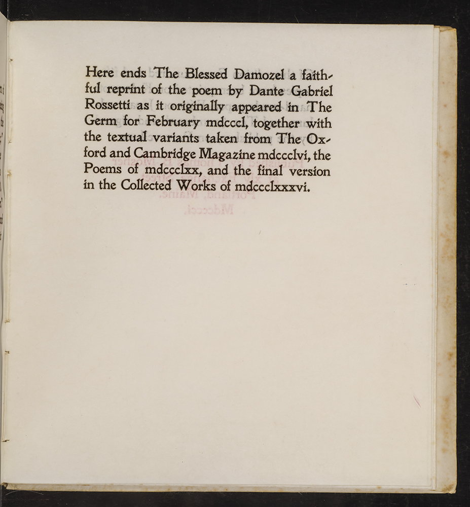 Blessed Damozel, The by Dante Gabriel ROSSETTI, Charles RICKETTS, Thomas B   MOSHER on David Brass Rare Books