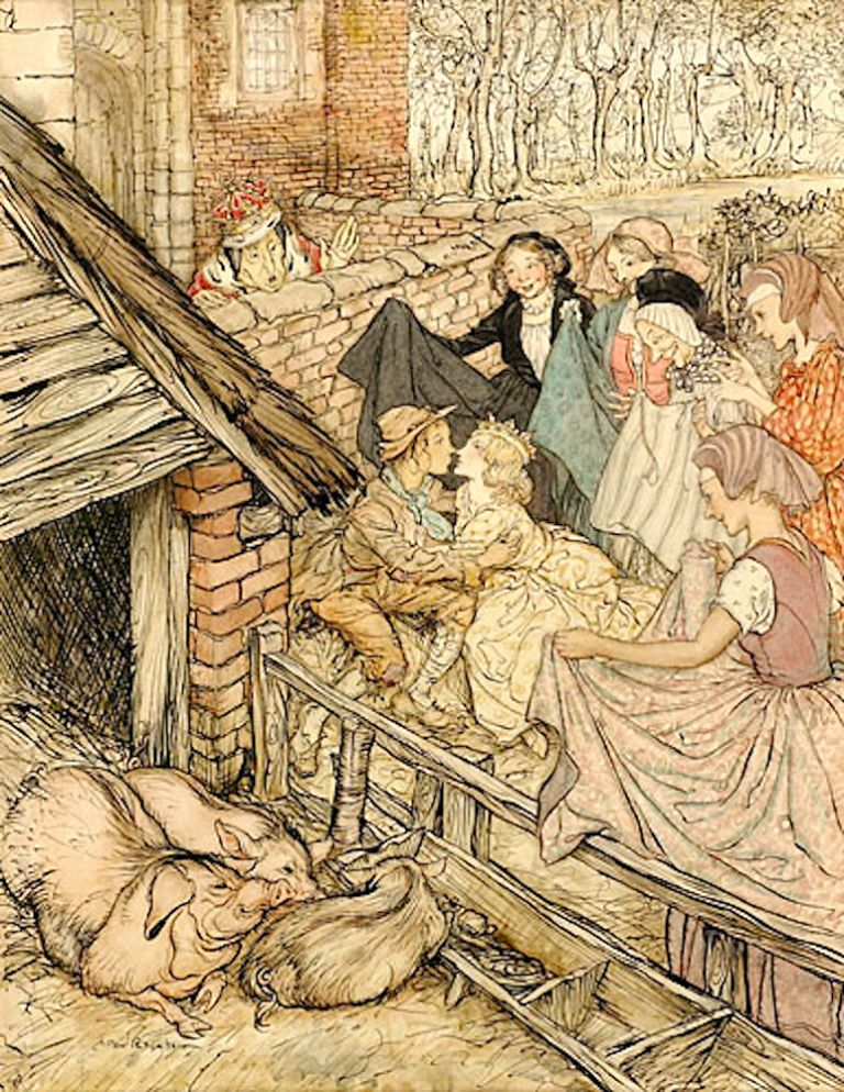 """Just as the swineherd was taking the eighty-sixth kiss"". Arthur RACKHAM."
