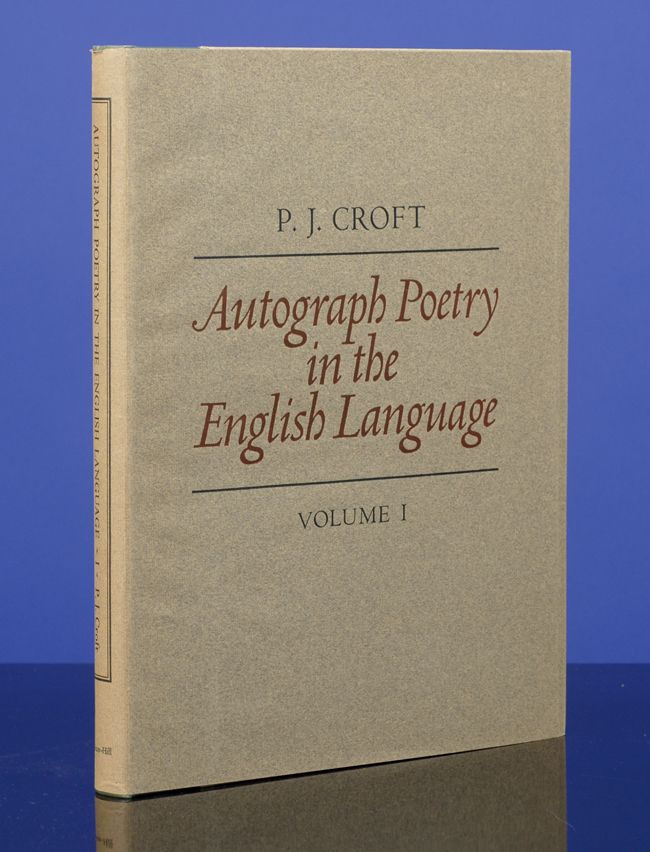 Autograph Poetry in the English Language. Peter John CROFT.
