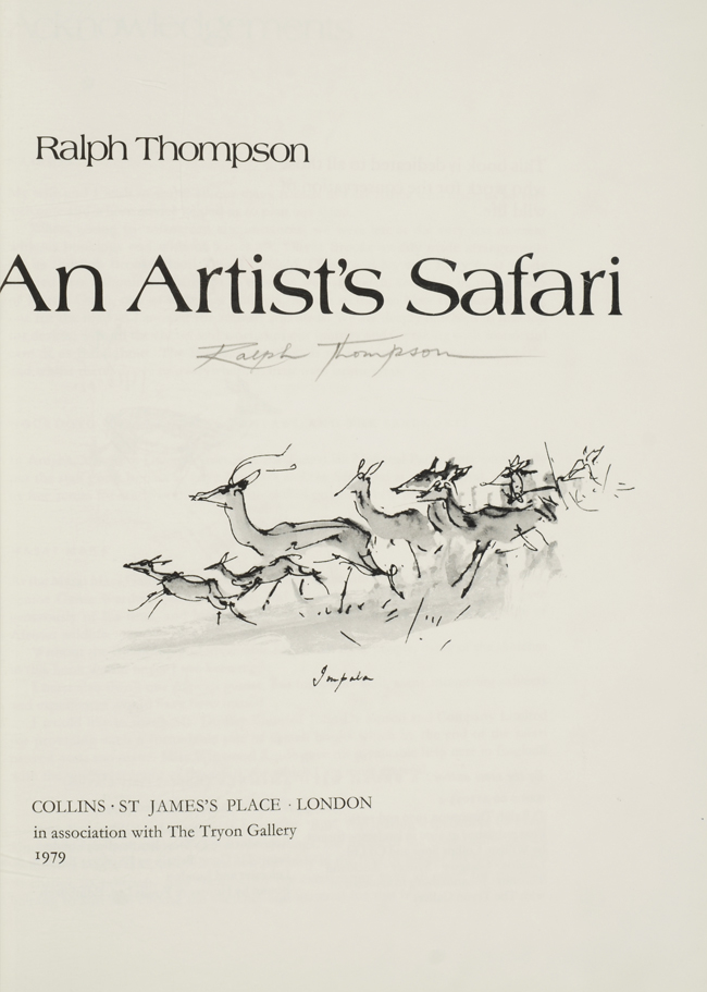 Artist's Safari, An. binder ZAEHNSDORF, Ralph Thompson.