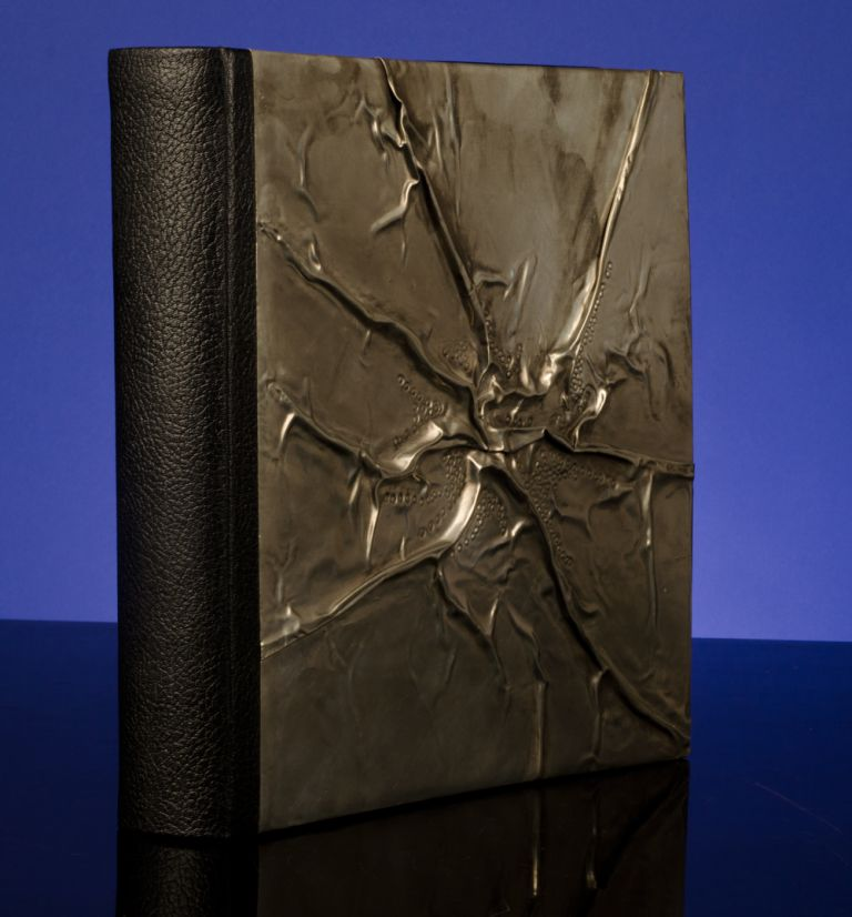 A Superlative Blank Album Binding in Creased and Chased Pewter and Morocco Leather. Monique LALLIER.