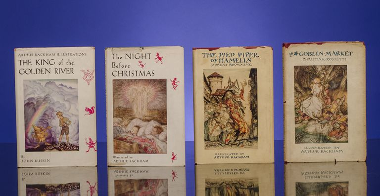 [The Christmas Books] MOORE, Clement C. The Night before Christmas. [And:] RUSKIN, John. The King of the Golden River. [And:] ROSSETTI, Christina. Goblin Market. [And:] BROWNING, Robert. The Pied Piper of Hamelin. Arthur RACKHAM, Robert BROWNING, Clement C. MOORE, John RUSKIN, Christina ROSSETTI.