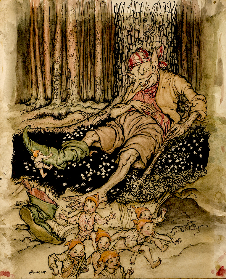 """Hop-o'-my-thumb went up to the Ogre softly and pulled off his seven-league boots"" Arthur RACKHAM, artist."