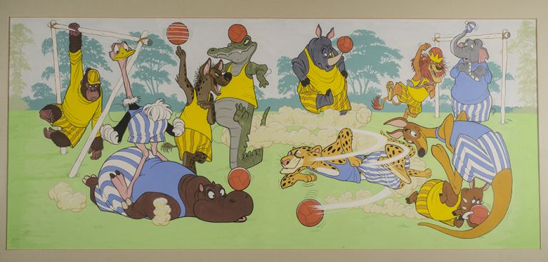 Double spread cover for Walt Disney's Disneyland comic series No. 17 January 1st [1972]. [The True Blues and The Dirty Yellows Playing Silly Soccer]. WALT DISNEY STUDIOS.