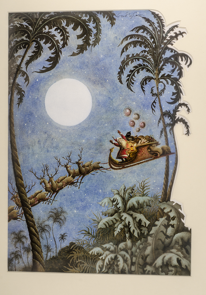 "An original watercolor painting from ""Christmas 1993 or Santa's Last Ride."" Errol LE CAIN, Leslie BRICUSSE."