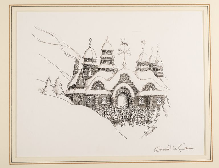 "An original pen, ink and monotone drawing from ""Christmas 1993 or Santa's Last Ride."" Errol LE CAIN, Leslie BRICUSSE."