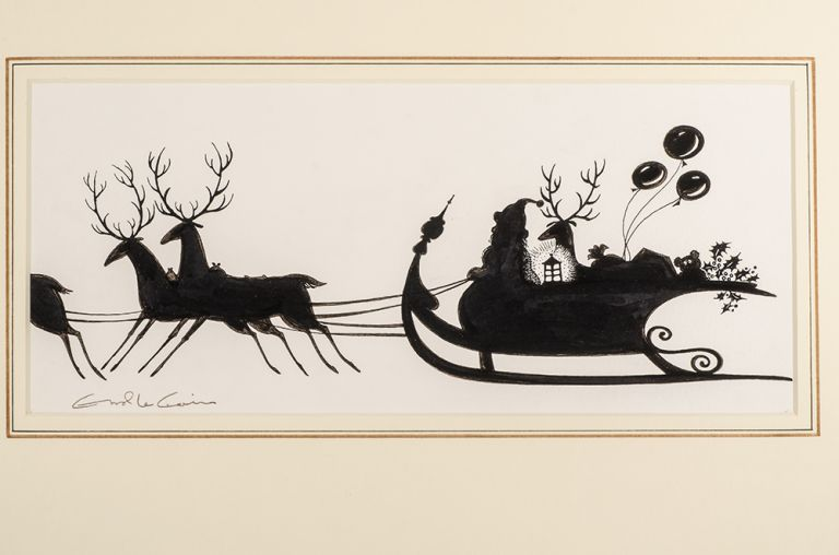 "An original black and white silhouette drawing from ""Christmas 1993 or Santa's Last Ride."" Errol LE CAIN, Leslie BRICUSSE."