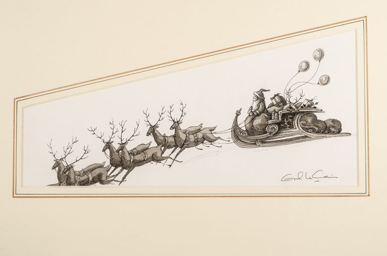 "An unused/unpublished original pen, ink and monotone drawing from ""Christmas 1993 or Santa's Last Ride."" Errol LE CAIN, Leslie BRICUSSE."
