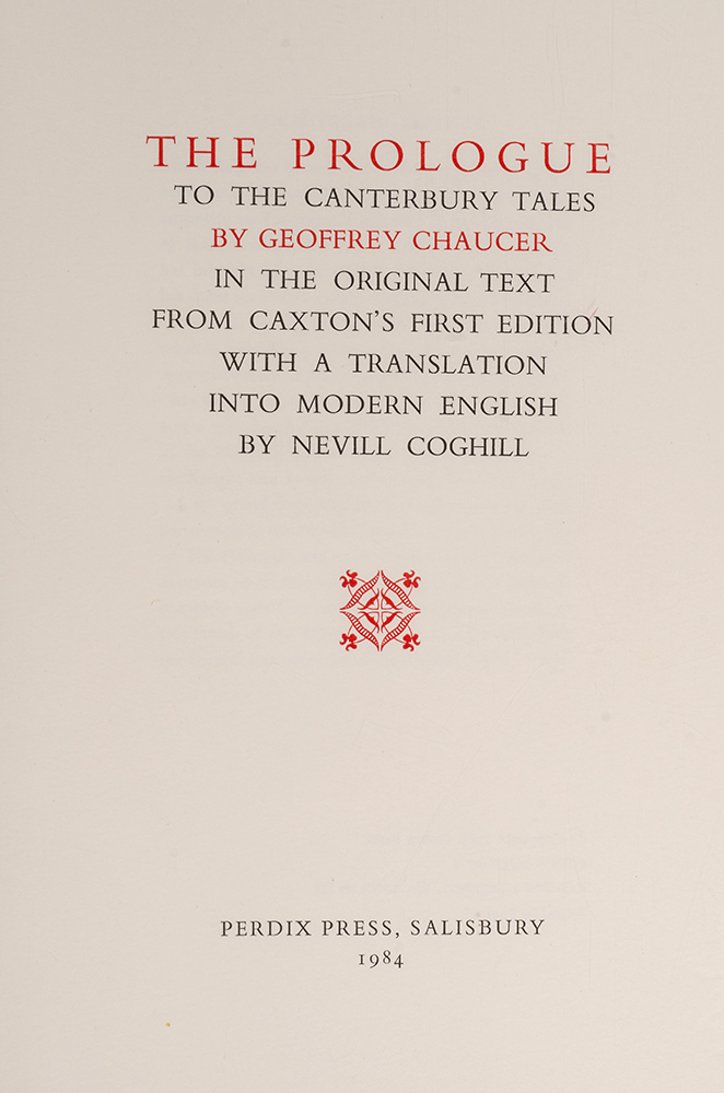 Prologue to the Canterbury Tales, The. Geoffrey CHAUCER, PERDIX PRESS, Howard PHIPPS.