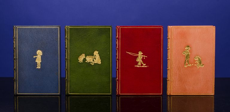 [Complete Set of the Pooh Books, A]. When We Were Very Young.. Winnie the Pooh. Now We Are Six. The House at Pooh Corner. A. A. MILNE, Ernest H. SHEPARD, binders BAYNTUN-RIVIÈRE.