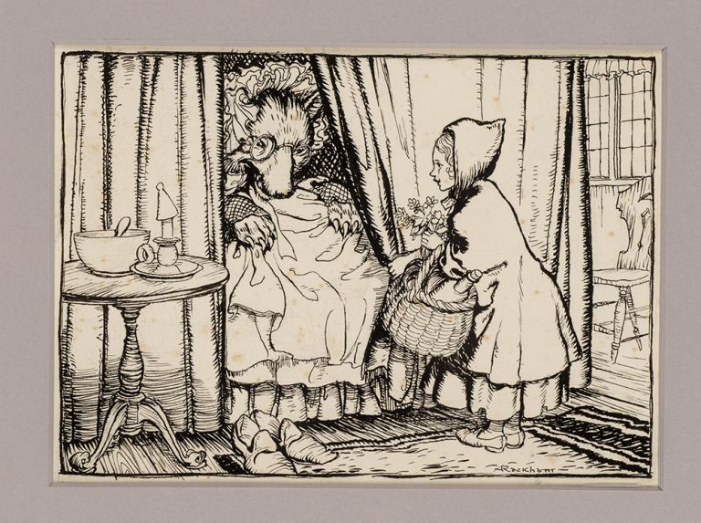 """""""Put the cake and the little pot of butter upon the bread-bin and come and lie down with me"""" Arthur RACKHAM, artist, Jacob GRIMM, Wilhelm, Charles PERRAULT."""
