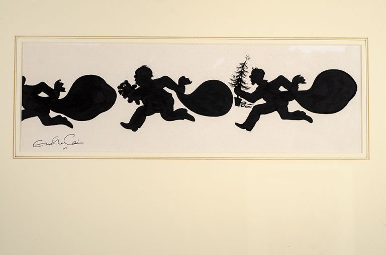 """An original black and white silhouette drawing from """"Christmas 1993 or Santa's Last Ride."""" Errol LE CAIN, Leslie BRICUSSE."""