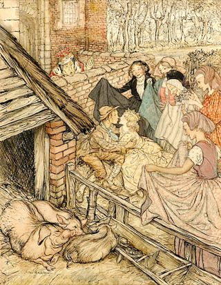 """Just as the swineherd was taking the eighty-sixth kiss"". Arthur RACKHAM, artist."