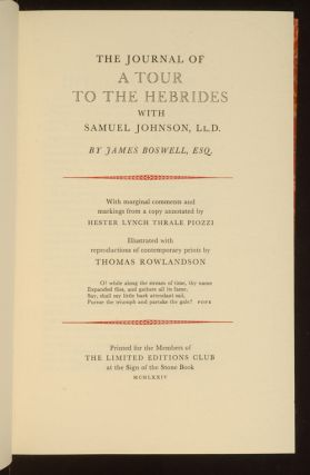 Journal of a Tour to the Hebrides with Samuel Johnson. LlD., The
