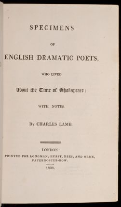 Specimens of English Dramatic Poets