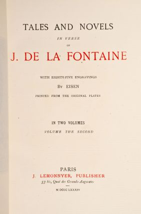 Tales and Novels in Verse of J. De La Fontaine