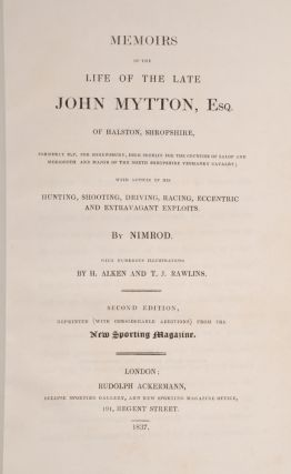 Memoirs of the Life of the Late John Mytton, Esq. of Halston, Shropshire