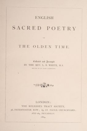 English Sacred Poetry of the Olden Time