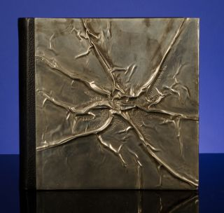 A Superlative Blank Album Binding in Creased and Chased Pewter and Morocco Leather