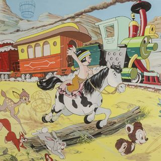 Double spread cover for Walt Disney's Disneyland comic series No. 47. January 15th [1972]. [Hiawatha Racing Casey Junior to the Railroad Station]