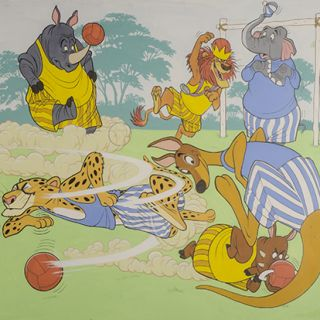 Double spread cover for Walt Disney's Disneyland comic series No. 17 January 1st [1972]. [The True Blues and The Dirty Yellows Playing Silly Soccer]
