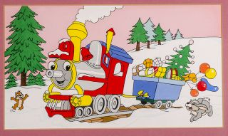 Christmas gifts being carried by Choo Choo Train in the snow. WALT DISNEY STUDIOS