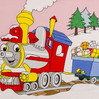Christmas gifts being carried by Choo Choo Train in the snow