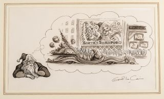 "An original pen, ink and monotone drawing from ""Christmas 1993 or Santa's Last Ride."" Errol LE..."