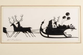 "An original black and white silhouette drawing from ""Christmas 1993 or Santa's Last Ride."" Errol..."