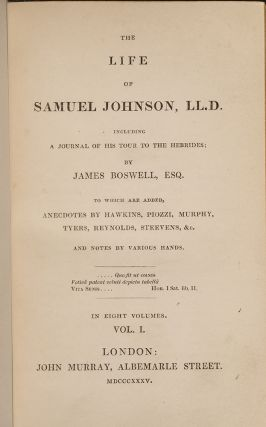 Life of Samuel Johnson, LL.D. Including a Journal of His Tour to the Hebrides…, The
