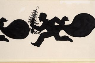 """An original black and white silhouette drawing from """"Christmas 1993 or Santa's Last Ride."""""""