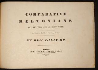 Comparative Meltonians, As they are, and as they were.
