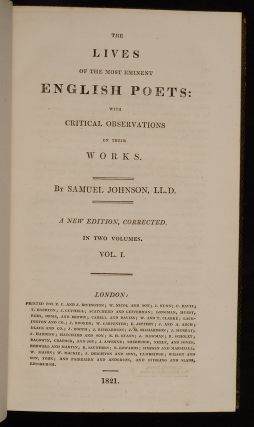 Lives of the most Eminent English Poets:, The